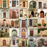 Collage with retro doors in Italy Royalty Free Stock Images