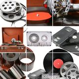 Collage of retro music and photo and video equipment. Gramophone. A collage of retro music and photo and video equipment. Gramophone, vinyl record stock photos