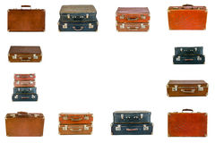 Collage of retro travel suitcases isolated on white Royalty Free Stock Images