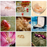 Collage with rings. Beautiful  collage with wedding rings Royalty Free Stock Photos