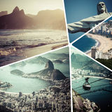 Collage of Rio de Janeiro Brazil images - travel background m Stock Image