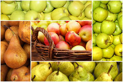 Collage of ripe apples and pears Royalty Free Stock Photography
