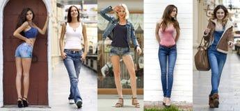 collage Ritratto nella piena crescita le giovani belle ragazze nel bl fotografia stock libera da diritti