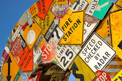 Collage of Road Signs Royalty Free Stock Photos