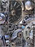 Collage of Robot parts mechanical. Background of steampunk. Royalty Free Stock Images