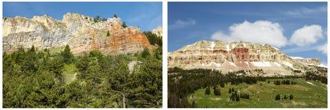 Collage rocheux de montagnes en bois de falaises Photo libre de droits