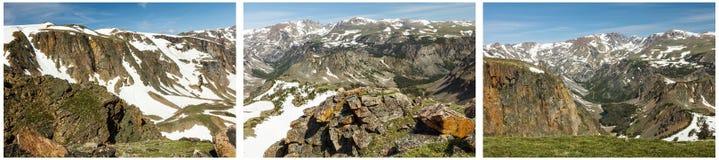 Collage rocheux de neige de hautes montagnes Photographie stock libre de droits