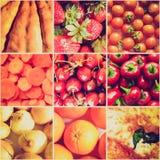 Collage rojo de la comida de la mirada retra fotos de archivo libres de regalías