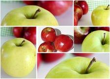 Collage rojo y verde de las manzanas Imagenes de archivo