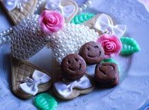 collage romantico delle perle rosa del nastro di sorriso del biscotto di nozze Immagine Stock Libera da Diritti