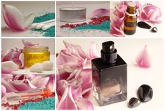 Collage with roses, perfume, oil Royalty Free Stock Photo