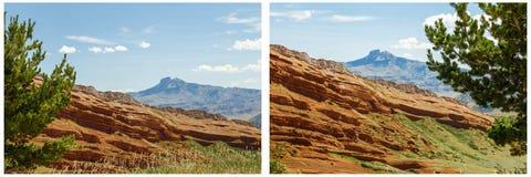 Collage rosso della montagna del cuore di formazione rocciosa Immagini Stock Libere da Diritti