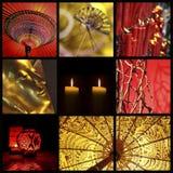 Collage rosso e dorato dell'Asia di zen Fotografia Stock Libera da Diritti