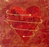 Collage rosso verniciato del cuore Fotografia Stock Libera da Diritti