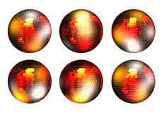 Collage. Rotating disco ball with reflected lights Royalty Free Stock Images