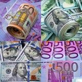 collage 5000 roubles för modell för bakgrundsbillspengar Arkivbilder