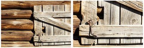 Collage rouillé de matériel de vieux de porte mur en bois de rondin Images libres de droits