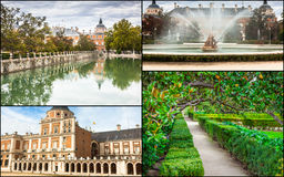 Collage of Royal Palace of Aranjuez, Madrid, Spain.  Royalty Free Stock Photos