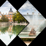 Collage of Royal Palace of Aranjuez, Madrid, Spain.  Royalty Free Stock Images
