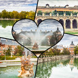 Collage of Royal Palace of Aranjuez, Madrid, Spain.  Stock Photos