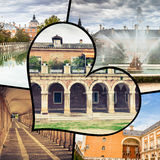 Collage of Royal Palace of Aranjuez, Madrid, Spain.  Royalty Free Stock Image