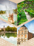Collage of Royal Palace of Aranjuez, Madrid, Spain.  Royalty Free Stock Photography