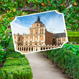 Collage of Royal Palace of Aranjuez, Madrid, Spain.  Stock Photo