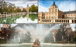 Collage of Royal Palace of Aranjuez, Madrid, Spain.  Royalty Free Stock Photo