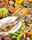 Collage with Rustic autumn table setting Royalty Free Stock Images