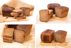 Collage of rye bread Stock Photos