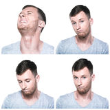 Collage of sad, offended, unhappy, disappointed face expressions Royalty Free Stock Images