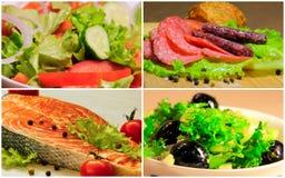 Collage salad food fish royalty free stock photo