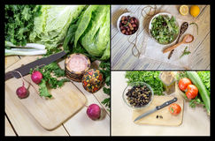 Collage of salad preparation. Collage of cooking salad from various vegetables close-up on a wooden table Stock Photos