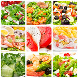 Collage of  salads. Collage of different salads with fresh vegetables Royalty Free Stock Image