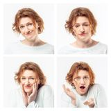 Collage of the same adult woman making different expressions. Studio shot. royalty free stock photo