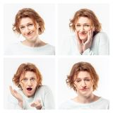 Collage of the same adult woman making different expressions. Studio shot. stock photos
