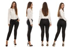 Same woman from different angles. Collage of the same woman in black jeans, white shirt and high heels from different angles stock images