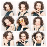 Collage of the same woman making diferent expressions Stock Image