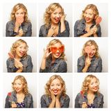 Collage of the same woman making diferent expressions. Royalty Free Stock Photography