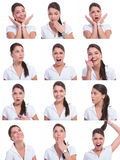 Collage of the same woman. Making diferent expressions on white background stock photo