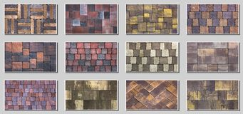 Collage sample of concrete paving slab for laying tracks.  Stock Photography