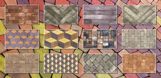 Collage sample of concrete paving slab for laying tracks.  Stock Images