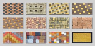 Collage sample of concrete paving slab for laying tracks.  Royalty Free Stock Images