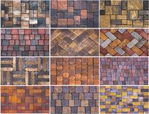 Collage sample of concrete paving slab for laying tracks.  Stock Photo