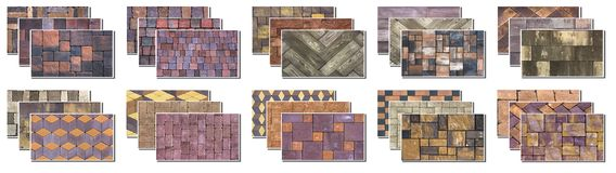 Collage sample of concrete paving slab for laying tracks.  Royalty Free Stock Photo