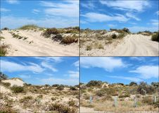Collage of sand dunes near Bunbury Western Australia. Royalty Free Stock Image