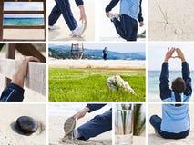 Collage sano di svago e di stile di vita Immagine Stock