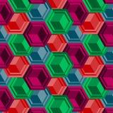 Collage sans couture de modèle du vecteur 3d abstrait avec des cubes Images stock