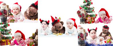 Collage of Santa baby girl and toy in Christmas on isolated white background. Royalty Free Stock Image