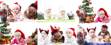 Collage of Santa baby girl and toy in Christmas on isolated white background. Royalty Free Stock Photo